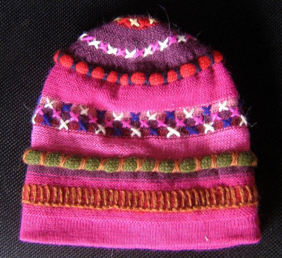 Pink beanie cap, made of alpaca wool, woolen hat