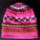 Pink beanie cap, made of alpaca wool, woolen hat