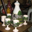 Ethnic ceramic carafe and 6cup , handpainted in Peru