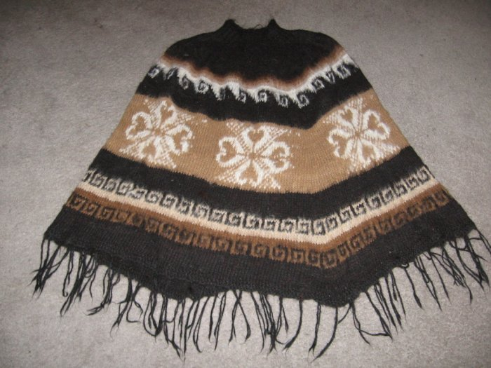 Turtleneck Poncho,natural Alpaca wool,outerwear