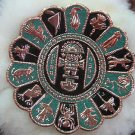 Wall plate from Peru, copper with turquoise stones