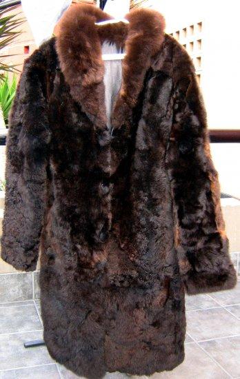 Long dark brown fur coat for men,babyalpaca pelt,outerwear