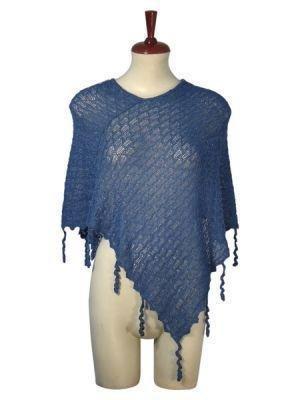 Blue weaved wrap in a Poncho style, Babyalpaca wool
