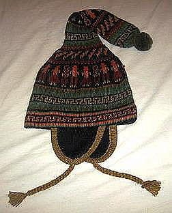 Ethnic peruvian Chullo, Woolly Hat with ear flaps