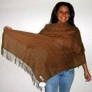Brown shawl made of pure Babyalpaca wool & Silk