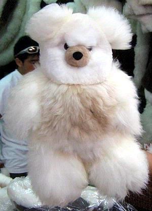 Fur teddy bear made of pure Babyalpaca fur, 32 Inches