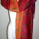 Red weaved shawl,scarf mix Babyalpaca wool and Silk