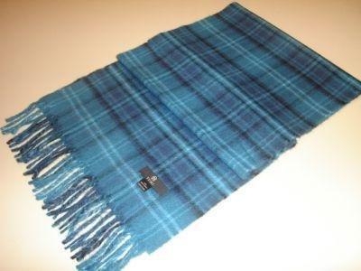 Blue chekked scarf,shawl made of Babyalpaca wool