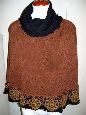 Embroidered Poncho with turtleneck, Alpaca wool