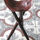 Tripod stool chair seat Mahogany wood Cow leather