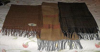 Set of 3 baby alpaca/silk scarves,very soft, cosy shawls