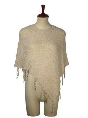 White weaved wrap in Poncho style,Babyalpaca wool