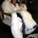 White Baby alpaca fur maxi hooded long coat,,outerwear