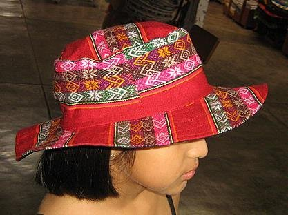Childrens Summer Sun Hat Red Multicolour of peru