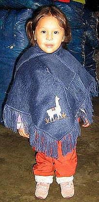 Toddlers blue Poncho,outerwear made of Alpacawool