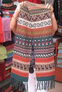Multicolour ethnical peruvian shawl, pure alpacawool