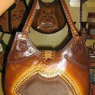 Handmade pure ethnical leather bag from Peru