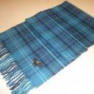 Blue chekked shawl,scarf made of Babyalpaca wool
