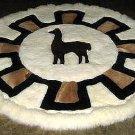 Round alpaca fur carpet, original from Peru, 140 cm