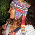 Multicolour peruvian chullo long tail hat, Alpacawool