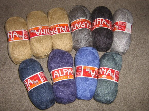 2.2 pounds mixed colored alpacawool,knitting wool
