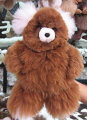 Brown fur Teddy bear, pure Babyalpaca, soft toy