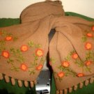 Embroidered brown shawl,wrap made of Alpaca wool