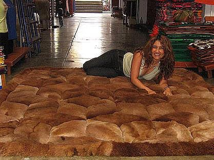 Alpaca fur rug,brown carpet, 74.8 x 55.1 Inches