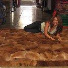 Alpaca fur rug,brown carpet, 74.8 x 55.1 Inches