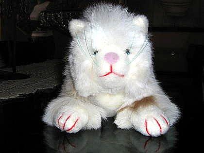 White fur cat,handmade of original Alpaca fur, figure