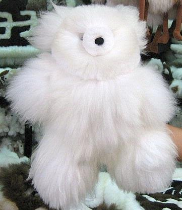 Fur Teddy Bear,white Babyalpaca fur, soft toy,figure
