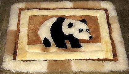 Alpaca fur rug,carpet in a design of a bear,30.7x23.4 In