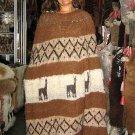 Natural alpacawool,brown ethnic peruvian Poncho