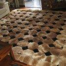 Octagon design alpaca fur rug, browns & black, 80 x 60 cm