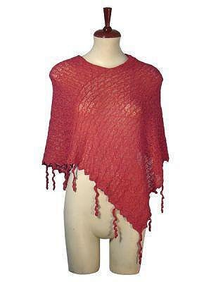 Red wooven  Poncho style, Babyalpaca wool