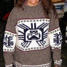 Gray Sweater, large Inka symbol, Alpacawool