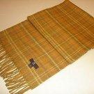 Yellow checked shawl,scarf made of Babyalpaca wool