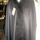 Cape,Poncho,  Baby Alpaca wool and fur collar outerwear