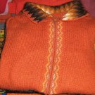 Orange cardigan, jacket made of Alpacawool