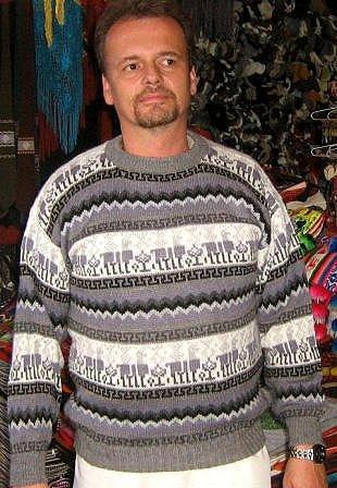 Gray sweater, made of Alpacawool, crew neck