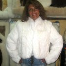 White chinchilla rex rabbit fur jacket, outerwear