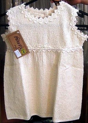 White sleeveless dress, ecological pima cotton