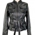 Women's black distressed Leather Jacket