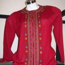 Red embroidered longsleeve Jumpe,made of alpacawool
