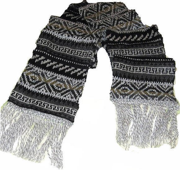 Ethnic peruvian scarf made of alpacawool, 62.9 x 9.8