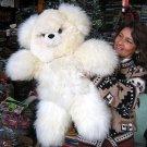 White fur Teddy baer, made of Alpaca fur, 31.5 Inches