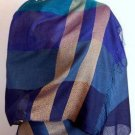 Blue weaved shawl,scarf of Babyalpaca wool and Silk