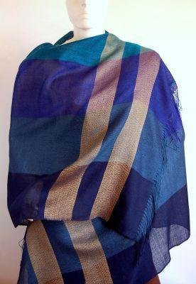 Blue weaved shawl,scarf of Babyalpaca wool and Silk