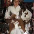 Brown white fur jacket of Babyalpaca pelt,outerwear