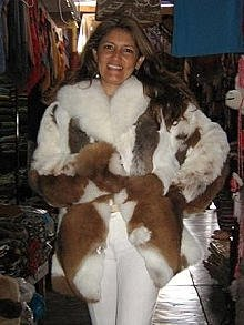 Brown white fur jacket of Babyalpaca pelt,outerwear